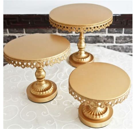 3 Size GOLD Cake Stands for hire rent in Melbourne
