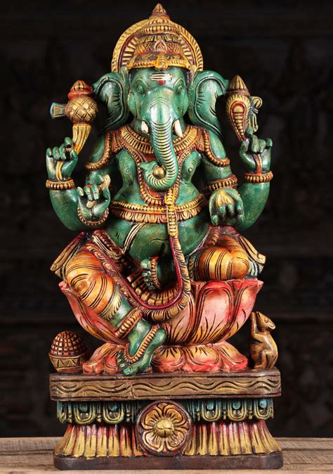 SOLD Wood Green Ganesh Statue Right Facing Trunk 24