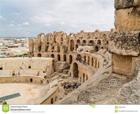 Ruins Of Ancient Colosseum In North Africa Stock Images