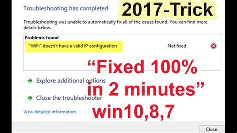 Wifi doesn't have a valid ip configuration 2017 - Network