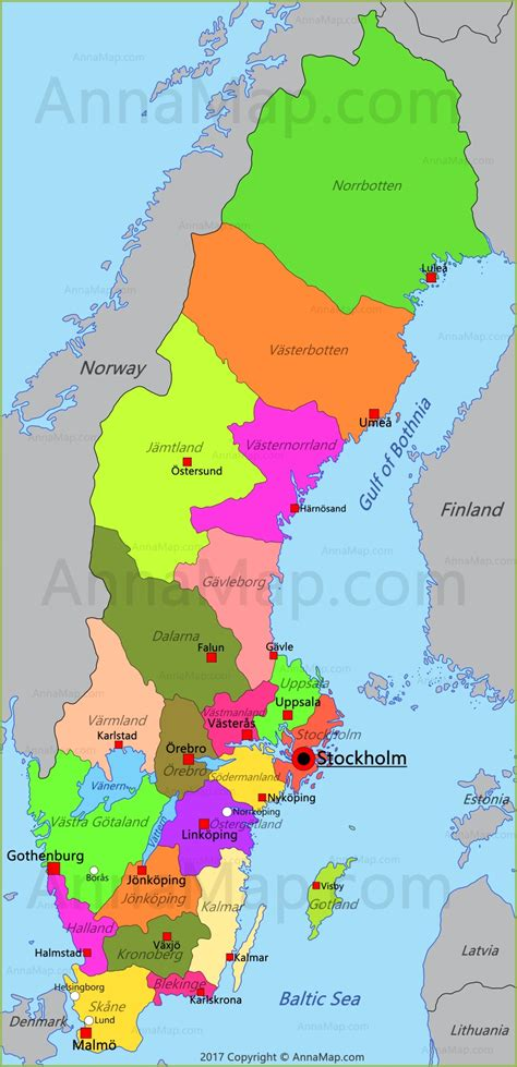 Sweden Map   Map of Sweden - AnnaMap